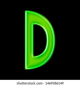 Glowing neon green glass letter D in a 3D illustration with a shiny metallic glossy effect & hand drawn font style isolated on a black background