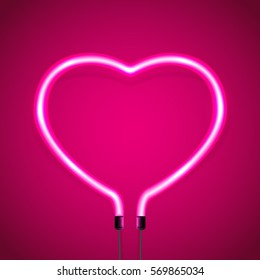 Glowing neon heart on pink background, decoration for Valentines Day, illustration.