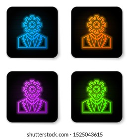 Glowing neon Human head with gear inside icon isolated on white background. Artificial intelligence. Thinking brain sign. Symbol work of brain. Black square button