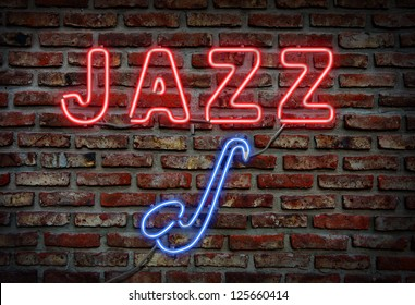 Glowing neon jazz sing on a brick wall.