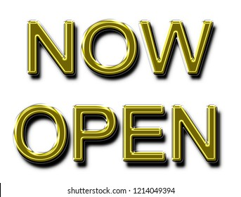 A glowing neon NOW OPEN sign in yellow gold in 3D illustration for use as a store sign