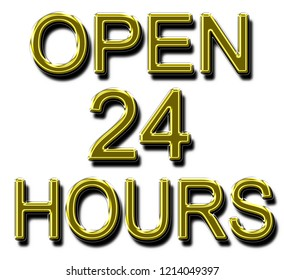 A glowing neon OPEN 24 HOURS sign in yellow gold in 3D illustration for use as a store sign