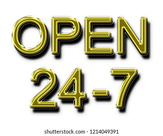 A glowing neon OPEN 24-7 sign in yellow gold in 3D illustration for use as a store sign