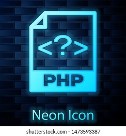 Glowing neon PHP file document icon. Download php button icon isolated on brick wall background. PHP file symbol