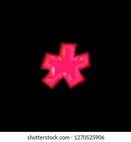 Glowing neon pink glass asterisk or star shape symbol in a 3D illustration with a shiny bright pink glow and fun curly font type style isolated on black background with clipping path