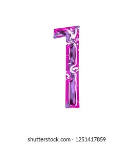 Glowing neon pink & purple metallic number one 1 in a 3D illustration with a colorful shiny metal or glass style effect in a damaged font on white with clipping path