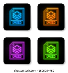Glowing neon PSD file document icon. Download psd button icon isolated on white background. PSD file symbol. Black square button