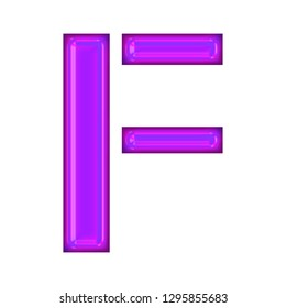 e4941b0cc1 Glowing neon purple color shiny glass letter F in a 3D illustration with a  bright purple
