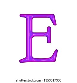 Glowing neon purple color shiny glass letter E in a 3D illustration with a bright purple neon tube style in an antique bookletter font isolated on a white background