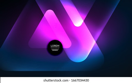 Glowing neon shiny abstract geometric shapes with light effects. Techno futuristic abstract background For Wallpaper, Banner, Background, Card, Book Illustration, landing page