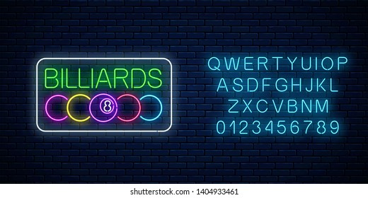 Glowing neon signboard of bar with billiards with alphabet. Billiard balls with text in rectangle frame.