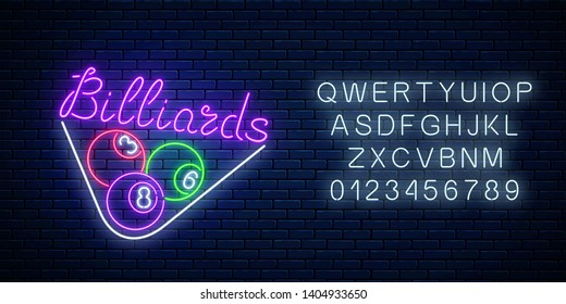 Glowing neon signboard of bar with billiards with alphabet. Night advertising symbol of taproom with pool game.