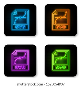 Glowing neon SVG file document icon. Download svg button icon isolated on white background. SVG file symbol. Black square button