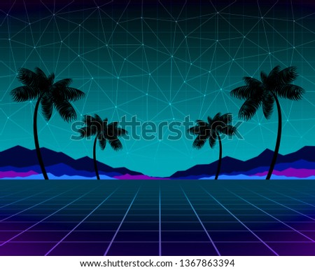 Glowing Neon Synthwave Retrowave Background Template Stock