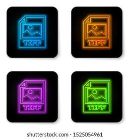 Glowing neon TIFF file document icon. Download tiff button icon isolated on white background. TIFF file symbol. Black square button