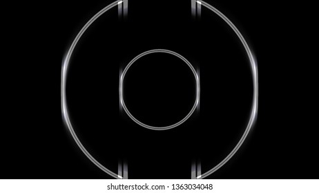 Glowing neon white circle frames moving backwards in the endless tunnel on black background. Animation. Round narrow lines endless movement, monochrome.
