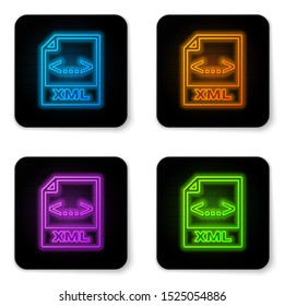 Glowing neon XML file document icon. Download xml button icon isolated on white background. XML file symbol. Black square button