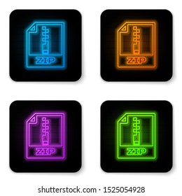 Glowing neon ZIP file document icon. Download zip button icon isolated on white background. ZIP file symbol. Black square button