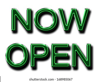 A glowing NOW OPEN sign in green for use as a store sign or design element.