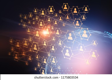 Glowing orange social network icons over blue background with Earth hologram. Concept of hi tech, hr and globalisation. 3d rendering copy space double exposure Elements of this image furnished by NASA
