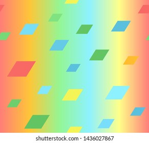 Glowing parallelogram pattern. Seamless background - red, orange, yellow, green, blue quadrangles on gradient backdrop
