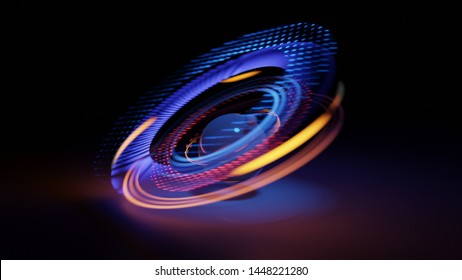 Glowing particles around a sphere. Swirl light movement. Motion blur effect. 3d Illustration