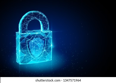 Glowing polygonal padlock on dark background. Protection and safety concept. 3D Rendering