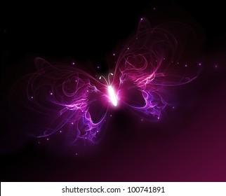 glowing purple butterfly on a dark background