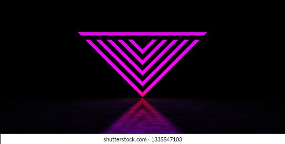 A glowing purple geometric figure in dark space. Inverted glowing pink pyramid. Glowing abstract pyramid. 3D Render