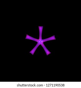 Glowing purple shiny glass asterisk or star shape symbol in a 3D illustration with a bright neon purple glow and fun curly font type style isolated on black background with clipping path