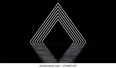 A glowing pyramid consisting of thin strips. A glowing portal. 3D illustration