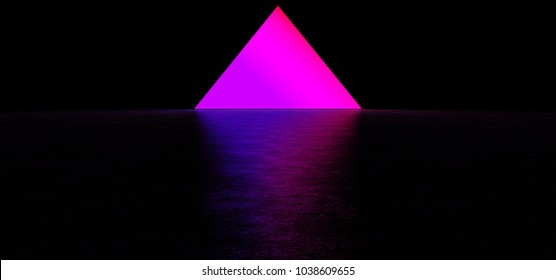 A glowing pyramid in a dark space. Bright purple pyramid. 3D Render