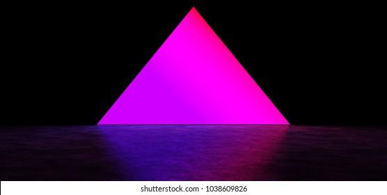 A glowing pyramid in a dark space. Bright purple pyramid. 3D Render
