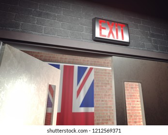 Glowing red exit sign above an open door and in the background the flag of the United Kingdom in reference to Brexit, UK leaving the European Union. 3D illustration.