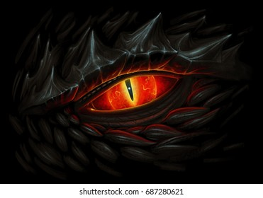 Glowing red eye of black dragon. Digital painting.