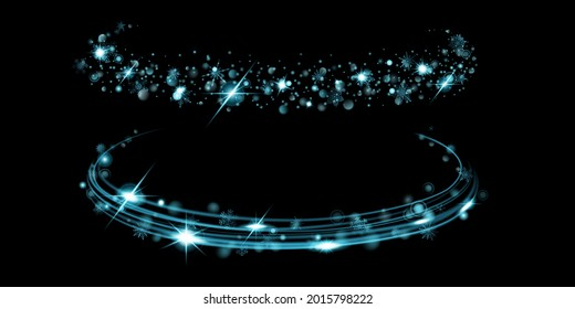 Glowing rings with glitter and snowflakes in light blue colors on black background. Light effects