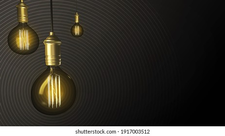 Glowing roof wired lamps, with vintage light on a black background. Idea and innovation 3D illustration concept with copy space for text
