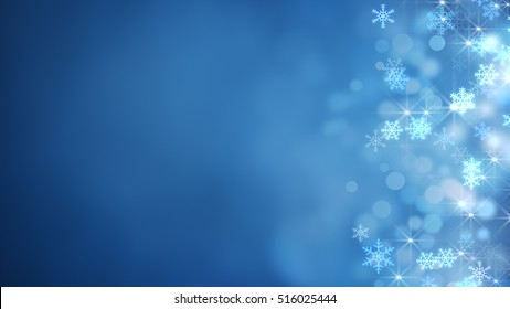 glowing side snowflakes. abstract christmas background