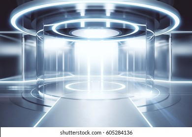 Glowing silver teleportation station. Science concept. 3D Rendering