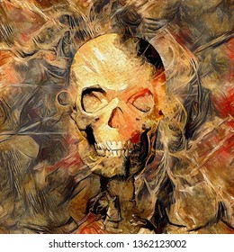 Glowing skull painting. Modern digital art. 3D rendering