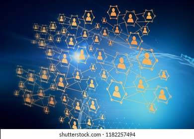 Glowing social network icons over blue background with Earth hologram. Concept of hi tech, hr and globalisation. 3d rendering copy space double exposure Elements of this image furnished by NASA