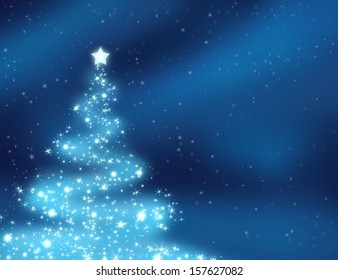 Glowing and sparkling christmas tree