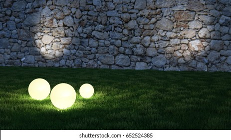Glowing spheres in garden with medieval stone wall in background 3d rendering