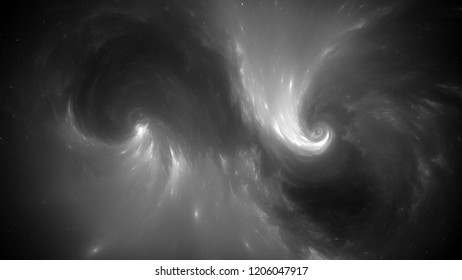 Glowing spiral singularities in space, black and white effect, computer generated abstract intensity map, 3D rendering