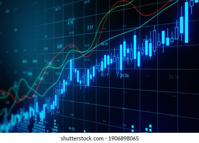 Glowing stock chart with candlestick and big data index grid. Trading and finance concept. 3D Rendering