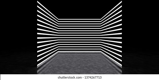 Glowing stripes form a room. Luminous stripes in dark space. 3D Render