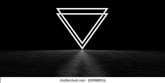 A glowing symbol in the form of two inverted pyramids. Glowing abstract symbol. 3D Render