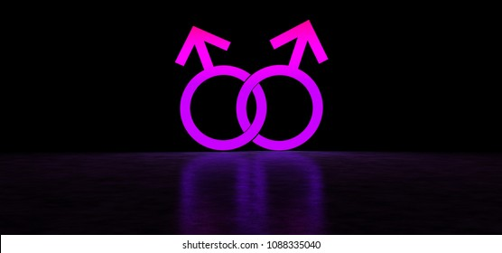 Glowing symbol of homosexuals. Male homosexuality symbol. 3D Render