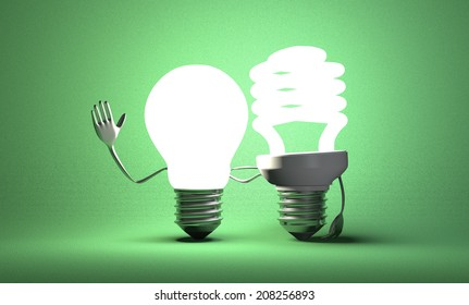 Glowing tungsten light bulb character waving hand and fluorescent one with their arms around each other on green textured background