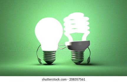 Glowing tungsten light bulb character and fluorescent one with their arms around each other on green textured background